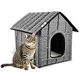 PUPPY KITTY Katzenhaus Katzenhöhle für Katzen Winterfest Katzenhöhle Faltbar Hautier Haus mit Abnehmbarem Matratze Weich und Warm für Hund Katze.