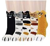 MMTX Damen Katze Socken, Mädchen Kuschelsocken mit Lustige Tiere Malerei Flauschige Hausschuhsocken Cartoon Bunte Crew Socken