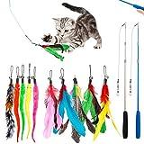 Interaktives Katzenspielzeug Spielzeug mit Federn, Teaser mit 2 Skalierbar Stangen 10 Katzenangel Ersatzfedern mit Anhänger Feder Glocke Befestigungen, Katzenspielzeug Set für Kätzchen und Katzen