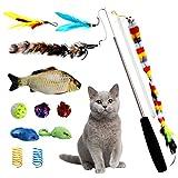 Joyoldelf Katzenspielzeug, Spielzeug Katzen Katze Toys Variety Pack Interaktives mit Federn Maus Katzenteaserstab Plüschspielzeug Bälle Set Spielzeug für Katzen 13 Stück