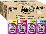 Whiskas Katzenfutter Junior in Sauce – Ausgewogenes Feuchtfutter für heranwachsende Katzen – 84 x 100g , verschiedene Sorten