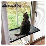 riijk Fenster Katzenhängematte für Katzen bis 23 kg | extra Stabiler Fensterliegeplatz für Katzen | Katzen Fensterliege | Katzenliege FensterPlatz | für große Fenster