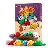 Chiwava 36 Stück 10cm Pelzig Katzenspielzeug Rassel Maus Spielzeugmäuse für Katzen Interaktives Spielen Sortiert Farbe