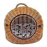 Katzenkorb aus Weide mit Kissen | Größe M 50x40x45 cm braun Natur | abnehmbares Metall-Gitter Transportkorb/Transportbox für Katzen Hunde | Katzenhöle Hundebett (M)